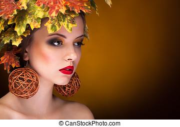 秋, ファッション, 肖像画, の, 美しい女性