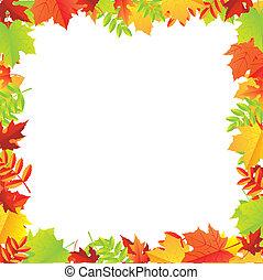秋, フレーム, カラフルである, leafs
