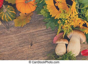 秋, フレーム, 上に, 木