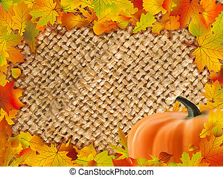 秋, フレーム, 落ちている, leaves., カラフルである