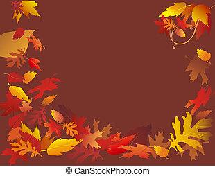 秋, ブラウン, 葉