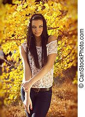 秋, ブルネット, 女, ファッション, 屋外で, portrait.