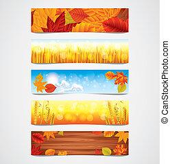秋, ベクトル, 旗, セット