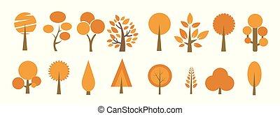 秋, ベクトル, 木, イラスト, アイコン