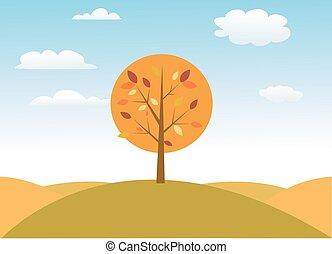 秋, ベクトル, 木, イラスト