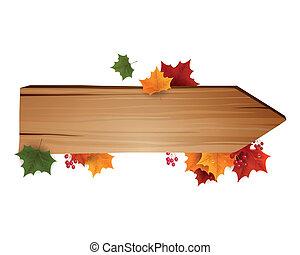 秋, ベクトル, 背景, leafs