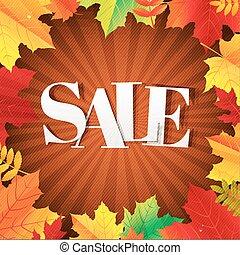 秋, ポスター, 葉, セール