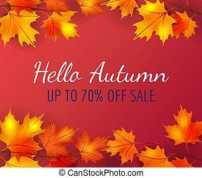 秋, ポスター, 葉, 背景