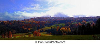 秋, 中に, 白い 山