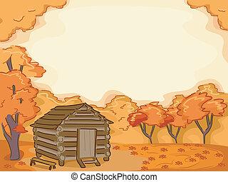秋, 丸太小屋