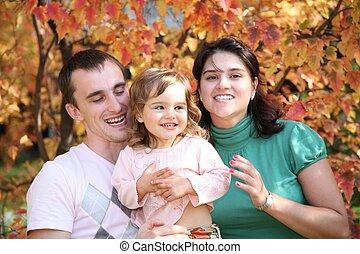 秋, 公園, 家族