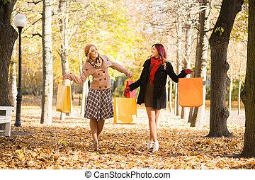 秋, 公園, 弛緩, 女性