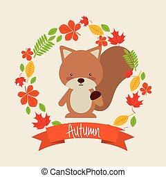 秋, 動物, かわいい, デザイン