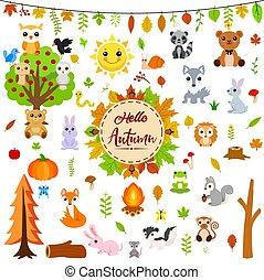 秋, 動物, 大きい, セット, かわいい