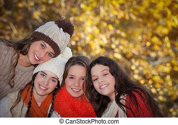秋, 十代, グループ, 女の子