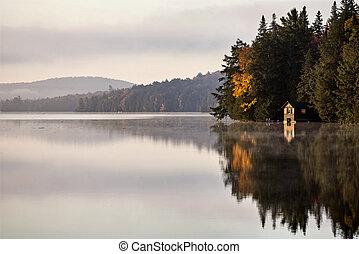 秋, 反射, 日の出, 湖