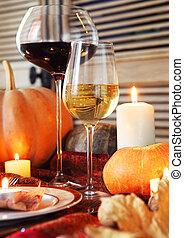 秋, 夕食, 場所, setting., 感謝祭