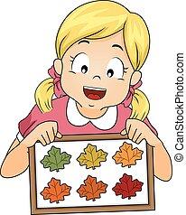 秋, 女の子, 葉, フレーム, 子供