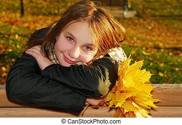 秋, 女の子, 葉