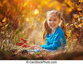 秋, 女の子, 遊び
