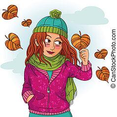 秋, 女の子
