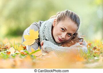 秋, 女, 公園