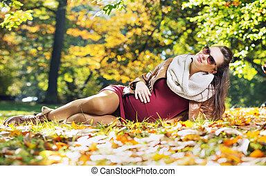 秋, 女, 公園, 痛みなさい, 妊娠した