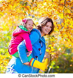 秋, 子供, 公園, 母