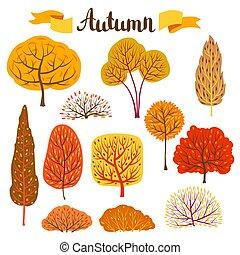 秋, 定型, セット, 木。