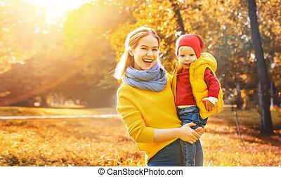 秋, 家族, 息子, 幸せ, 赤ん坊, 母, 歩きなさい