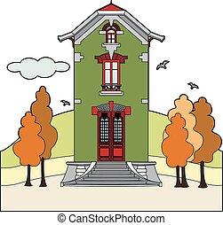 秋, 家, 緑