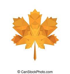 秋, 平ら, 葉, イラスト, origami