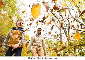秋, 彼の, 父, 若い, 息子, forest.