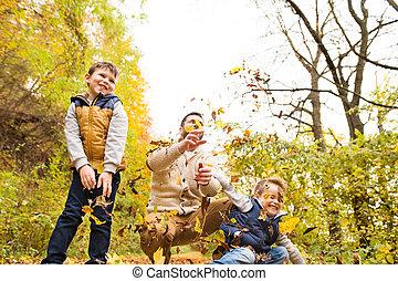 秋, 彼の, 父, 若い, forest., 息子