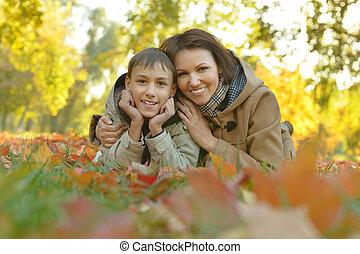 秋, 息子, 公園, 母