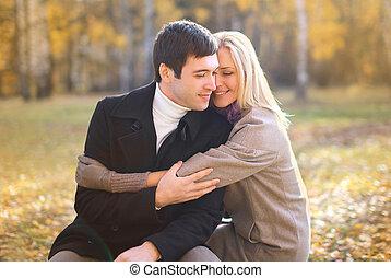 秋, 愛, 関係, そして, 人々, 概念, -, 幸せ, かなり, あなた