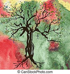 秋, 抽象的, 木, 水彩画, 背景, カード