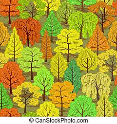 秋, 抽象的, 森林, 背景, seamless