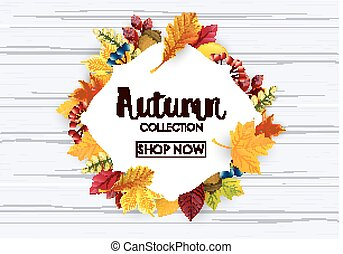 秋, 旗, セール, コレクション