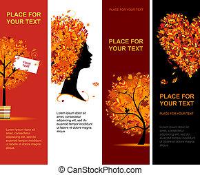 秋, 旗, デザイン, あなたの, 縦