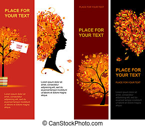 秋, 旗, 縦, ∥ために∥, あなたの, デザイン