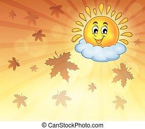 秋, 朗らかである, 空, 太陽