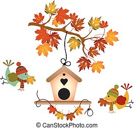 秋, 木の 葉, そして, 鳥