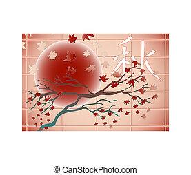 秋, 木, そして, 葉, -, 日本語, スタイル