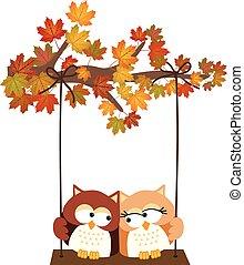 秋, 木, ∥で∥, フクロウ, 振動