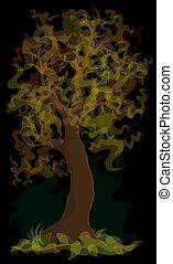 秋, 木, 黄色
