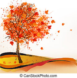 秋, 木。, vector., 背景