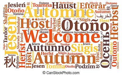 秋, 概念, 単語, 雲, 歓迎