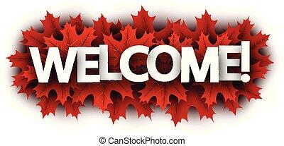 秋, 歓迎, leaves., 印, 暗い, 赤いカエデ