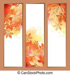 秋, 水彩画, ベクトル, ヘッダー